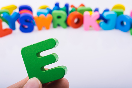 E Letter cubes of Alphabet made of wood