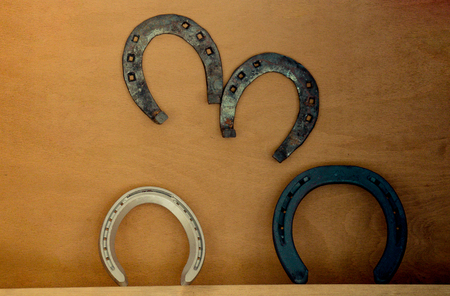 Lucky  horse shoes made of metal with nail holes