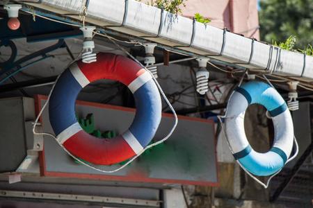 Life preservers or life savers hanging in air