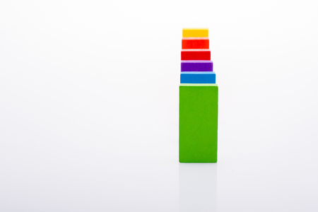 Colorful  Blocks in a line on a white Banque d'images