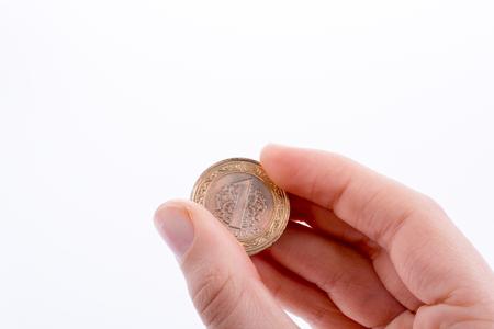 Turkish coin  one Turkish Lira in hand