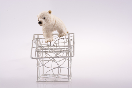Polar bear cub on the roof of a model house mado of roof
