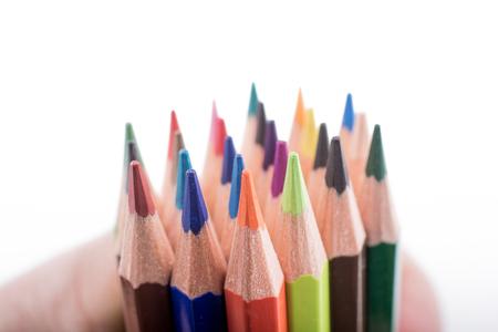 Lápices de colores de varios colores sobre un fondo blanco.