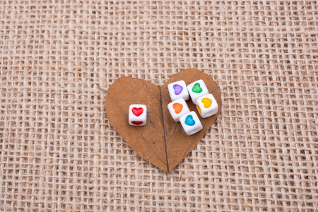 Colorful cubes with a heart on leaf on canvas Stock Photo