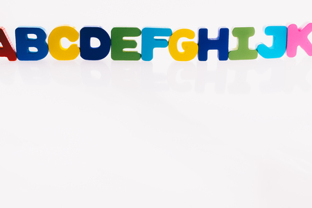Colorful Letter cubes of Alphabet made of wood