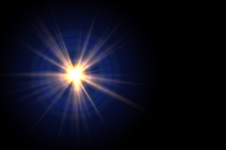 Abstract sun burst with digital lens flare background.