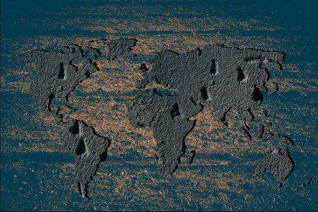 Roughly outlined world map with white background Reklamní fotografie