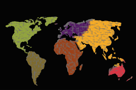 Roughly outlined world map with a colorful  patterns Stock Photo