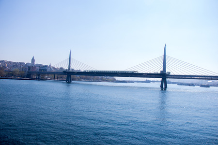 Halic metro bridge in Golden Horn in the view