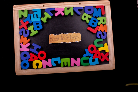 Back to school andColorful Letters of Alphabet made of wood Stock fotó