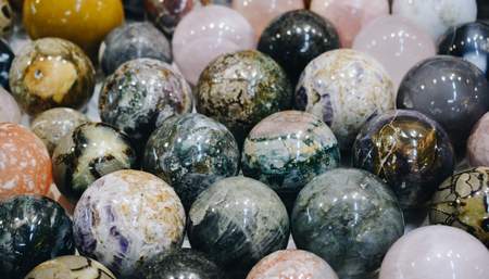 Semi precious stones  balls as natural mineral rock specimen