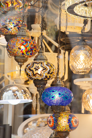 Mosaic Ottoman lamps from Grand Bazaar in  Istanbul Stock Photo
