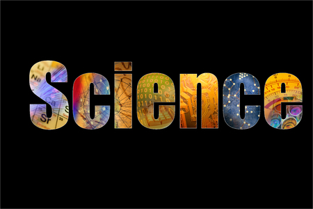 Word science formed by colorful science background themes