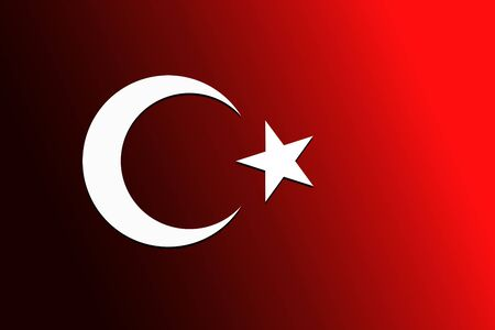 Turkish national flag with white star and moon