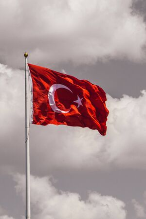 Turkish national flag hang in view in open air Stock Photo
