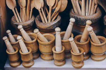 Wooden mortars and pestles as a traditional  kitchenware