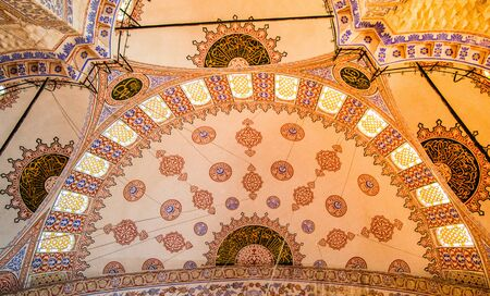 Inner view of dome in Ottoman architecture  in, Istanbul, Turkey Imagens - 128596495