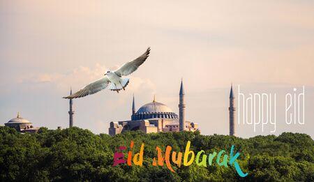 Muslim holiday festival of sacrifice, Happy Eid al-Adha mubarak wording Imagens - 128596412