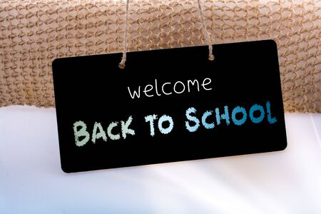 Back to school wording as education, teaching and learning concept Standard-Bild - 129486827
