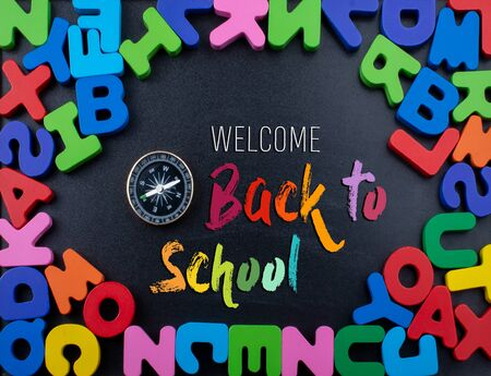 Back to school wording as education, teaching and learning concept 写真素材