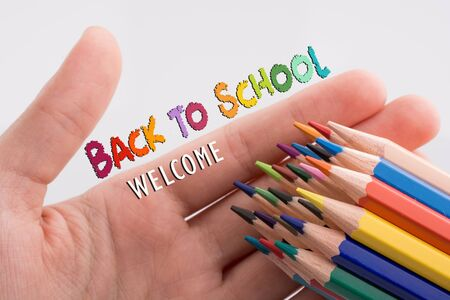 Back to school wording as education, teaching and learning concept Stok Fotoğraf