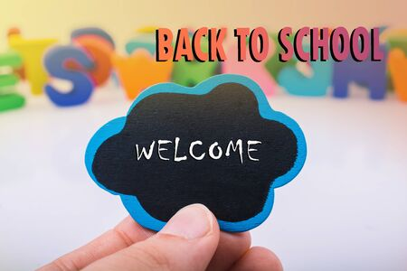 Back to school wording as education, teaching and learning concept 스톡 콘텐츠