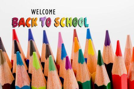 Libellé de retour à l'école en tant que concept d'éducation, d'enseignement et d'apprentissage Banque d'images
