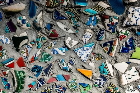 Little cracked fragments of ancient Ottoman Handmade Tiles Stock fotó