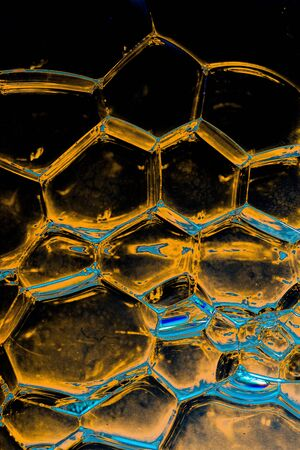 Oil bubbles inside water base form patterns