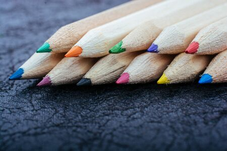 Variety of colors  set of colored pencils. Drawing and painting