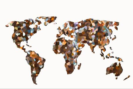 Roughly outlined world map with a colorful  patterns Stock fotó