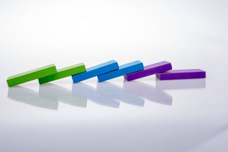 Colorful  Blocks placed on a white Stockfoto