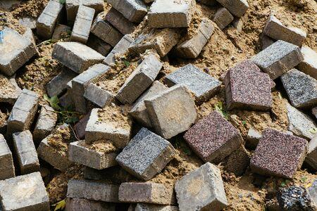 Concrete pavement tile stones as building material Stockfoto - 129811047