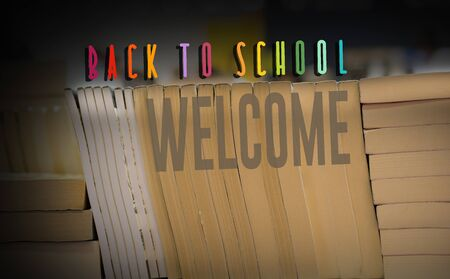 Back to school wording as education, teaching and learning concept 版權商用圖片