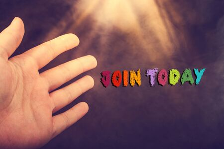 Hand and  Join Today wording on grunge background Stockfoto