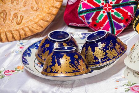 Handmade multicolor Turkish cups or plates in view in market