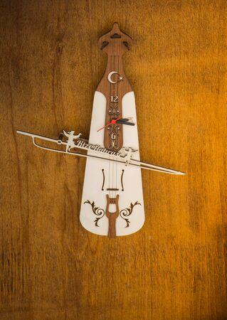 Set of models of musical instruments kemancha made of wood