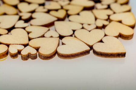 Retro style wooden hearts as love concept