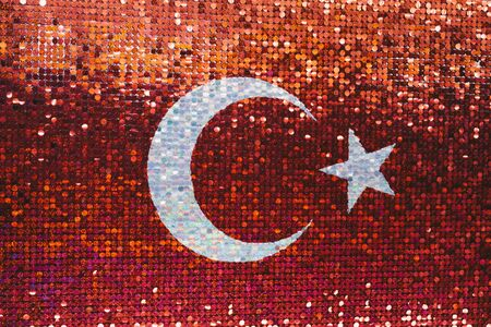 Turkish national flag with white star and moon in the view Stok Fotoğraf - 132025939