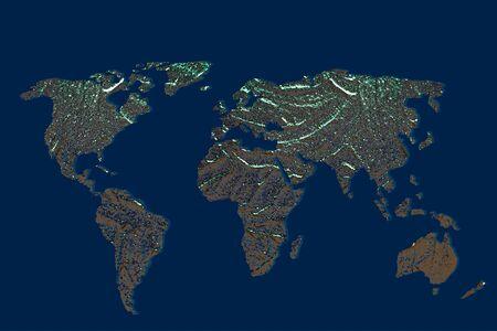 Carte du monde approximativement décrite avec un fond gris