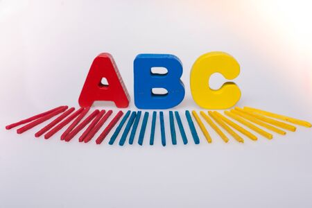 Alphabet  ABC  wooden  letters for early education concept Imagens