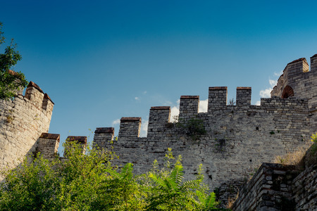 The ancient city walls of Constantinople in Istanbul, Turkey