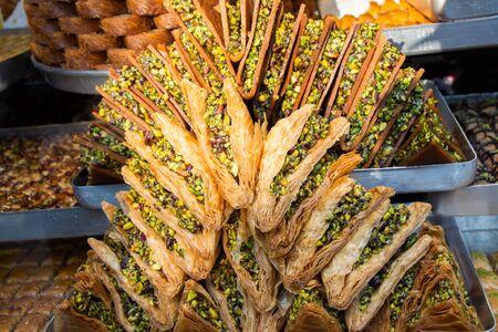 Traditional Turkish dessert Baklava stuffed vith pistachio from Istanbul Turkey