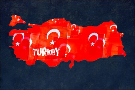 Turkish flags with white star and moon in Turkish map 스톡 콘텐츠