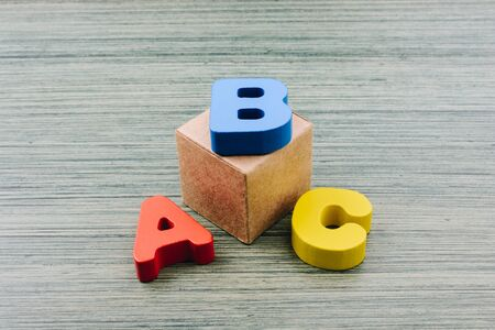 Alphabet  ABC  wooden  letters for early education concept Stok Fotoğraf