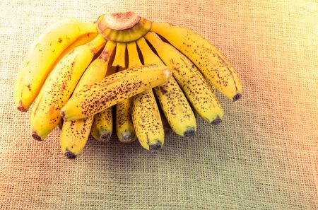 Bunch of yellow freckled bananas on a  canvas texture Фото со стока