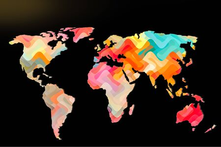 Roughly outlined world map with a colorful background patterns Reklamní fotografie