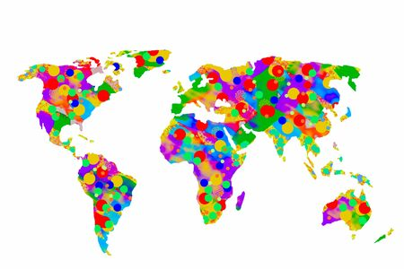 Roughly outlined world map with a colorful background patterns 免版税图像
