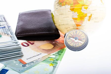 Compass, wallet, Euro banknotes with Euro  currency finance direction 스톡 콘텐츠