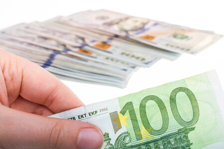 Hands holding euro banknotes currencies as  financial activity